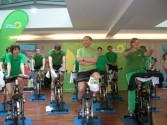 Fitness First Europapassage Spinning Fit für den Wahlkampf