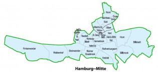 Bezirke farbig (ohne Grenzen)