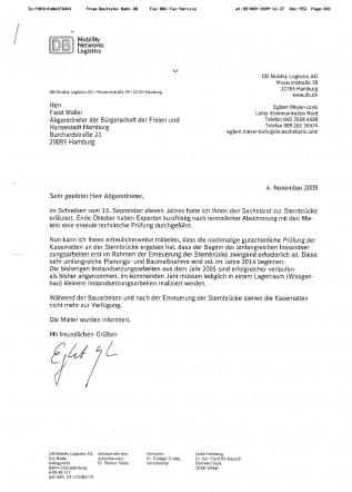 Faxbrief der DB an Farid Müller