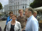 Hansaplatzbegehung mit Anja Hajduk vor dem Umbau