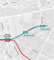 Streckenverlauf U4 Horner Geest