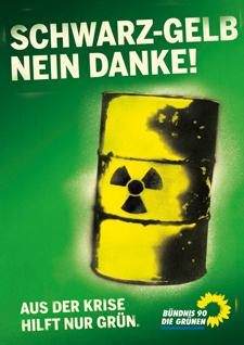 Kampagne Plakat Atom Schwarz Gelb